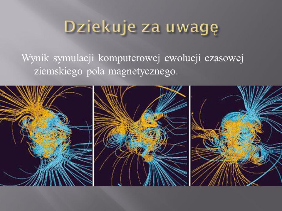 Wynik symulacji komputerowej ewolucji czasowej ziemskiego pola magnetycznego.