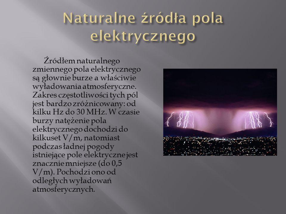 Źródłem naturalnego zmiennego pola elektrycznego są głownie burze a właściwie wyładowania atmosferyczne. Zakres częstotliwości tych pól jest bardzo zr