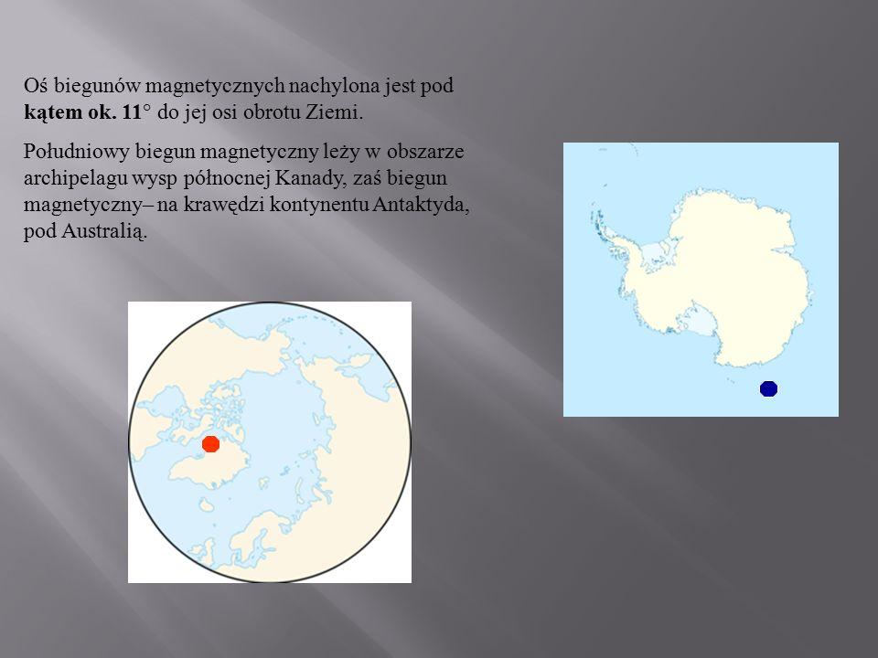 Oś biegunów magnetycznych nachylona jest pod kątem ok. 11° do jej osi obrotu Ziemi. Południowy biegun magnetyczny leży w obszarze archipelagu wysp pół