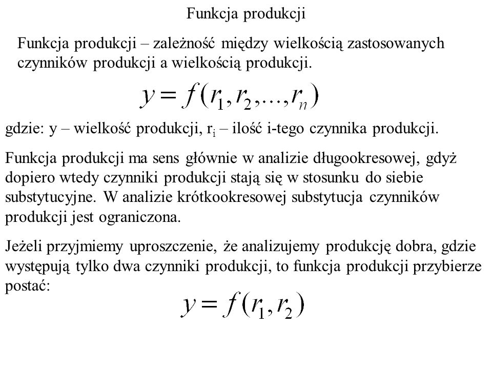 Jeżeli w okresie t 1 znaliśmy metody produkcji, które pozwalały wytworzyć produkt o wielkości y, co obrazuje izokwanta produkcji y, t 1 i była stosowana metoda produkcji A, to z chwilą kiedy postęp techniczny pozwala, ten sam produkt y wytworzyć, przy pomocy metod produkcji z izokwanty y, t 2, to: P K y, t 1 A y, t 2 A' A'' wybierając metodę A' uzyskujemy, że ten sam produkt otrzymamy przy mniejszym nakładzie K i stałym P.