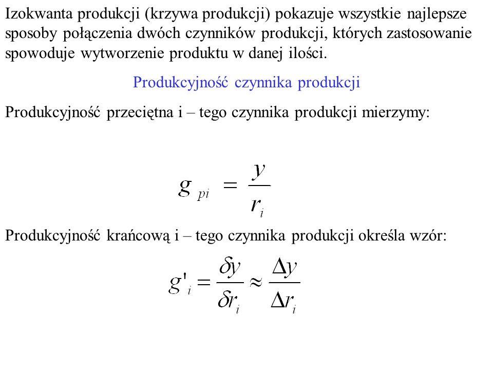 Jak zmieni się położenie optymalnej metody produkcji, gdy np.