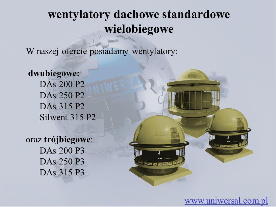 wentylatory dachowe standardowe wielobiegowe www.uniwersal.com.pl W naszej ofercie posiadamy wentylatory: dwubiegowe: DAs 200 P2 DAs 250 P2 DAs 315 P2 Silwent 315 P2 oraz trójbiegowe: DAs 200 P3 DAs 250 P3 DAs 315 P3