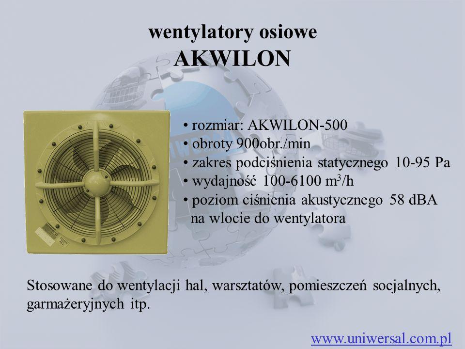 wentylatory osiowe AKWILON rozmiar: AKWILON-500 obroty 900obr./min zakres podciśnienia statycznego 10-95 Pa wydajność 100-6100 m 3 /h poziom ciśnienia akustycznego 58 dBA na wlocie do wentylatora www.uniwersal.com.pl Stosowane do wentylacji hal, warsztatów, pomieszczeń socjalnych, garmażeryjnych itp.