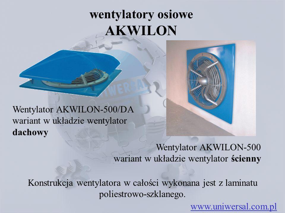 wentylatory osiowe AKWILON www.uniwersal.com.pl Konstrukcja wentylatora w całości wykonana jest z laminatu poliestrowo-szklanego. Wentylator AKWILON-5