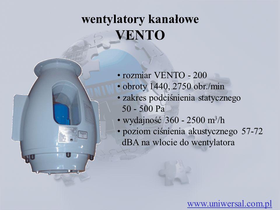 wentylatory kanałowe VENTO rozmiar VENTO - 200 obroty 1440, 2750 obr./min zakres podciśnienia statycznego 50 - 500 Pa wydajność 360 - 2500 m 3 /h poziom ciśnienia akustycznego 57-72 dBA na wlocie do wentylatora www.uniwersal.com.pl