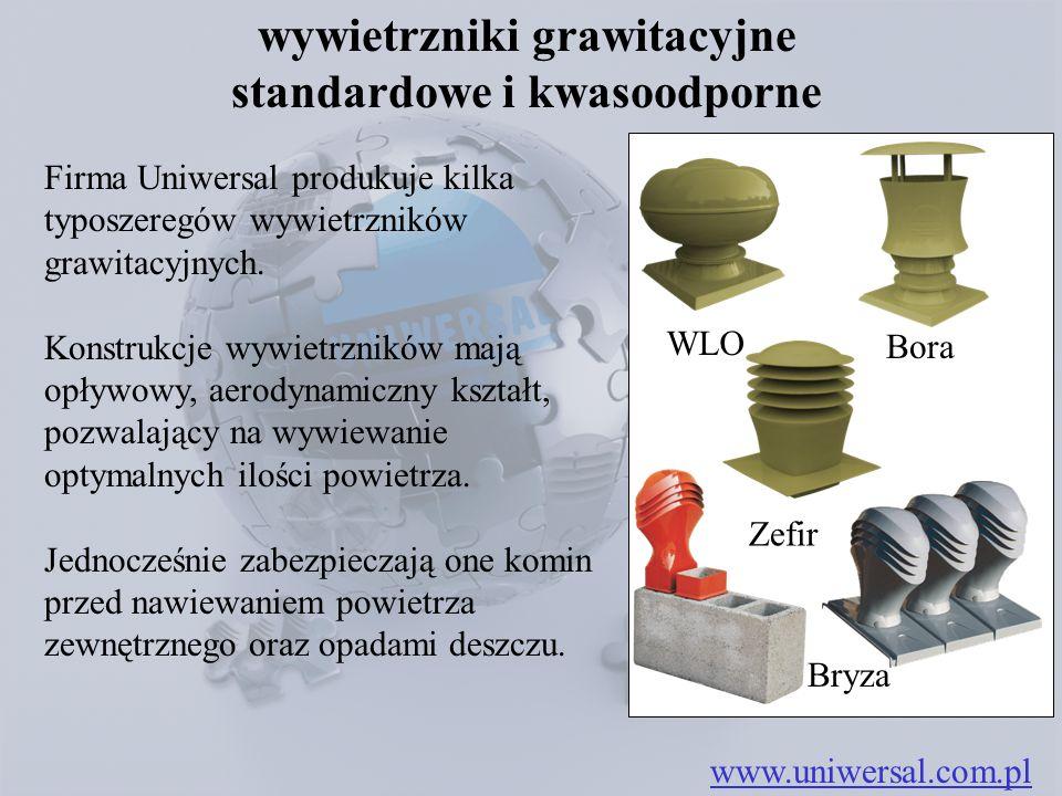 wywietrzniki grawitacyjne standardowe i kwasoodporne Firma Uniwersal produkuje kilka typoszeregów wywietrzników grawitacyjnych. Konstrukcje wywietrzni
