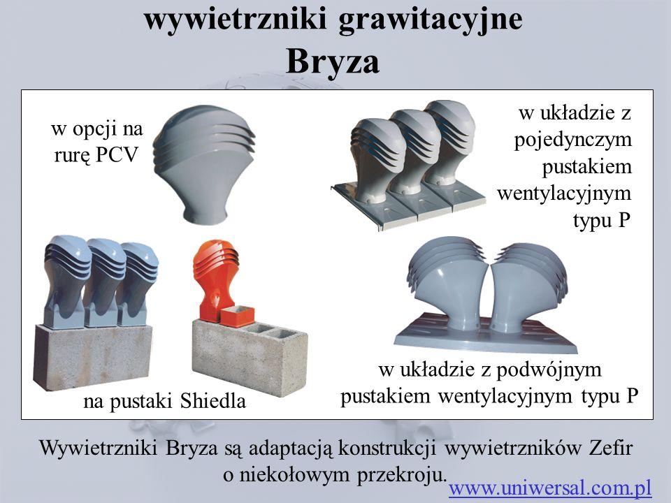 wywietrzniki grawitacyjne Bryza www.uniwersal.com.pl Wywietrzniki Bryza są adaptacją konstrukcji wywietrzników Zefir o niekołowym przekroju.