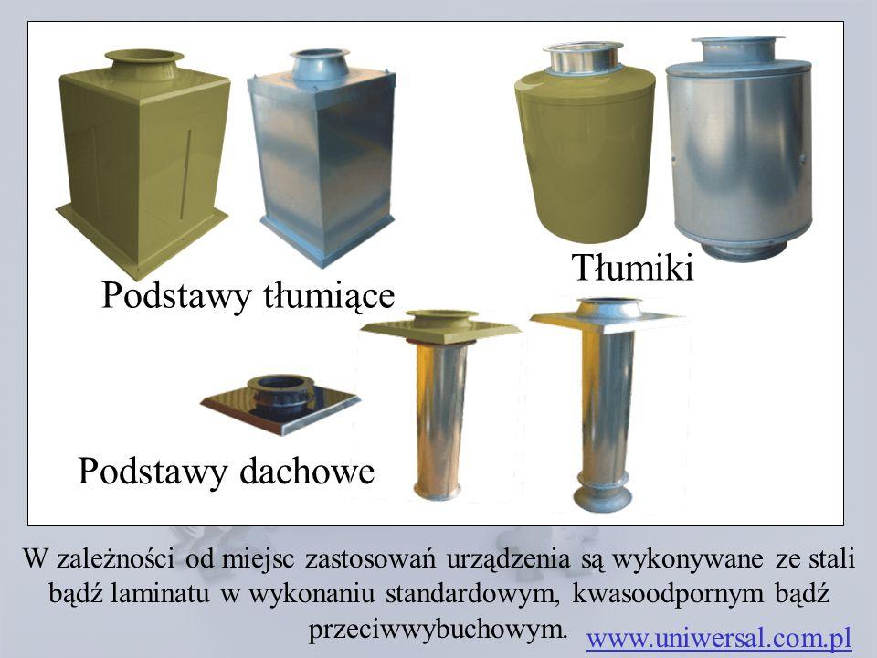 Podstawy dachowe www.uniwersal.com.pl W zależności od miejsc zastosowań urządzenia są wykonywane ze stali bądź laminatu w wykonaniu standardowym, kwas