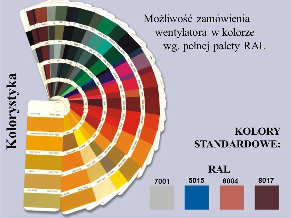 www.uniwersal.com.pl Kolorystyka Możliwość zamówienia wentylatora w kolorze wg. pełnej palety RAL 7001 5015 8004 8017 KOLORY STANDARDOWE: RAL