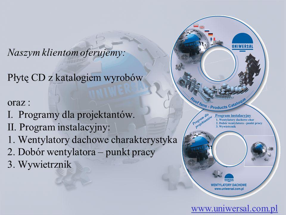 www.uniwersal.com.pl Naszym klientom oferujemy: Płytę CD z katalogiem wyrobów oraz : I. Programy dla projektantów. II. Program instalacyjny: 1. Wentyl