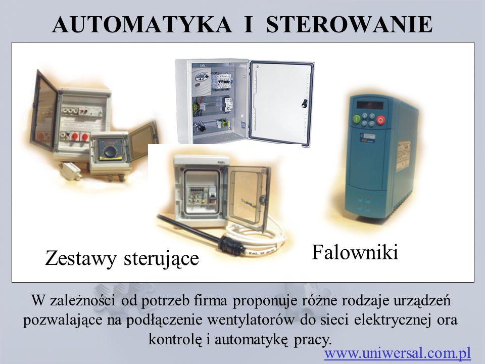 AUTOMATYKA I STEROWANIE www.uniwersal.com.pl W zależności od potrzeb firma proponuje różne rodzaje urządzeń pozwalające na podłączenie wentylatorów do sieci elektrycznej ora kontrolę i automatykę pracy.