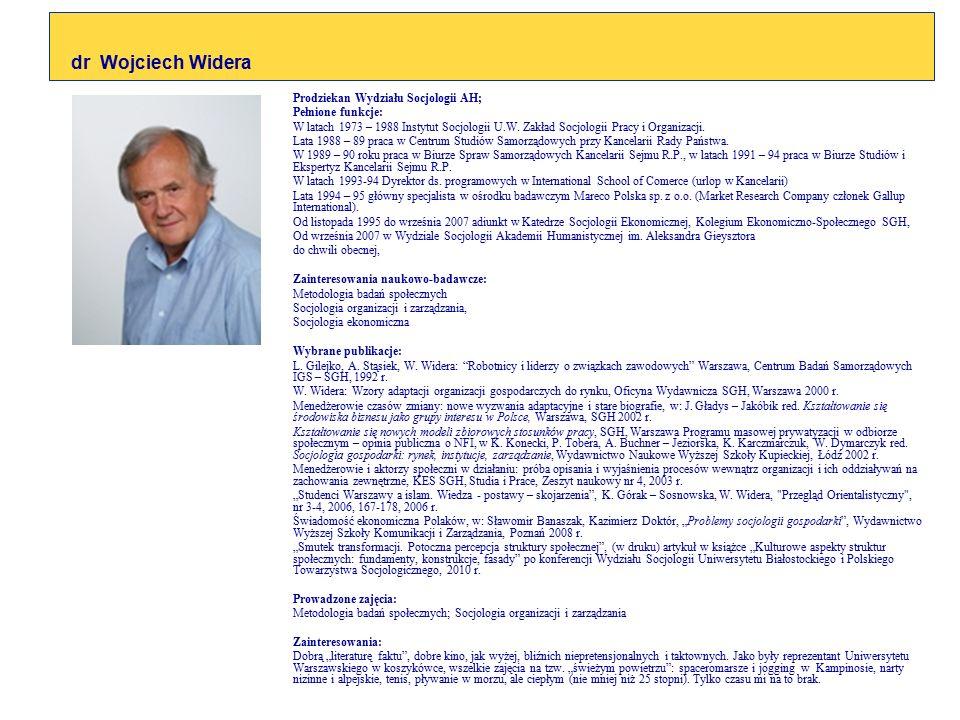 Prodziekan Wydziału Socjologii AH; Pełnione funkcje: W latach 1973 – 1988 Instytut Socjologii U.W. Zakład Socjologii Pracy i Organizacji. Lata 1988 –