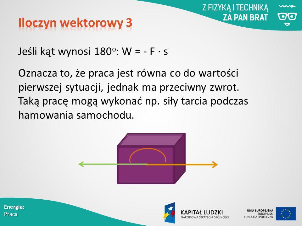 Energia: Praca Jeśli kąt wynosi 180 o : W = - F ∙ s Oznacza to, że praca jest równa co do wartości pierwszej sytuacji, jednak ma przeciwny zwrot.