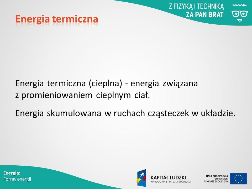 Energia termiczna (cieplna) - energia związana z promieniowaniem cieplnym ciał.
