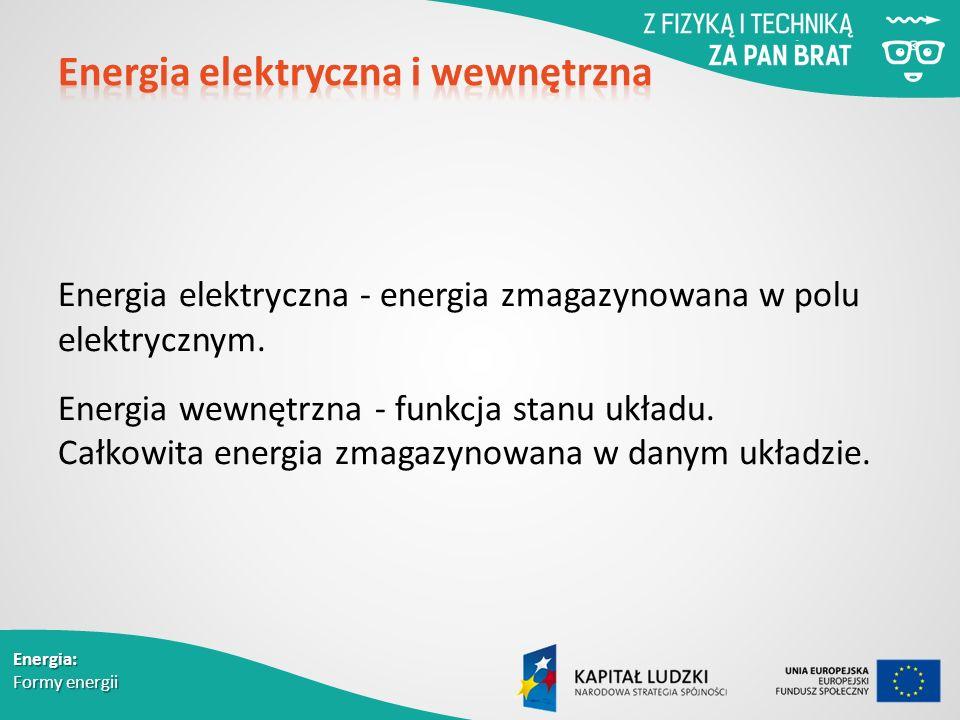 Energia elektryczna - energia zmagazynowana w polu elektrycznym.