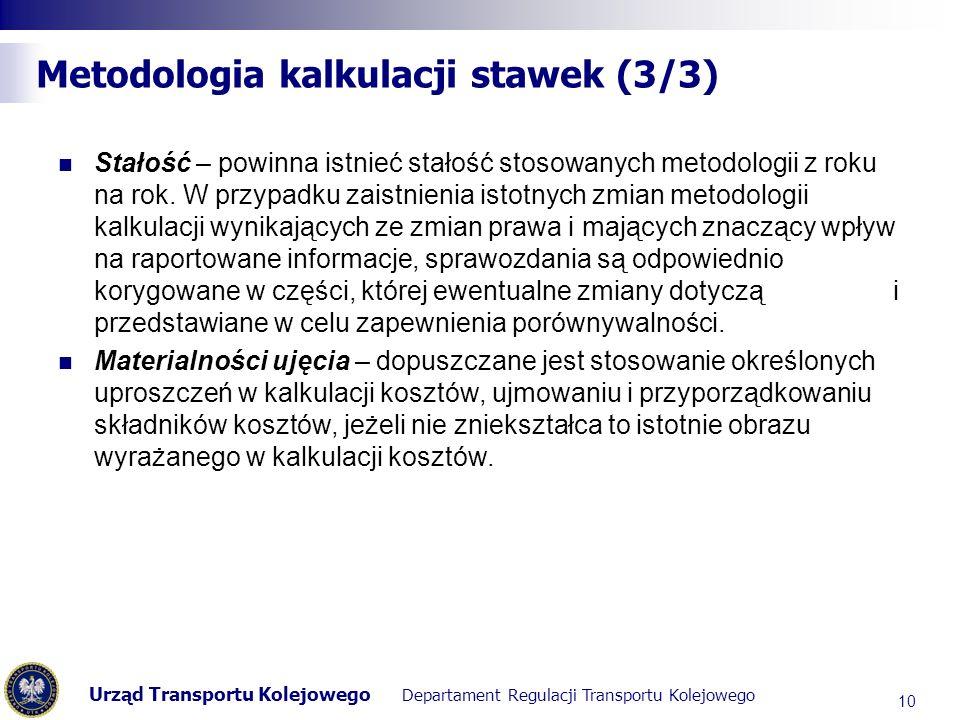 Urząd Transportu Kolejowego Departament Regulacji Transportu Kolejowego Metodologia kalkulacji stawek (3/3) Stałość – powinna istnieć stałość stosowanych metodologii z roku na rok.