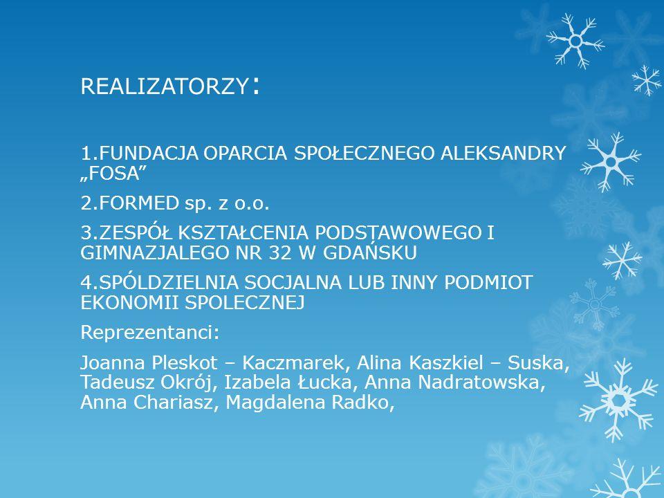 """REALIZATORZY : 1.FUNDACJA OPARCIA SPOŁECZNEGO ALEKSANDRY """"FOSA 2.FORMED sp."""