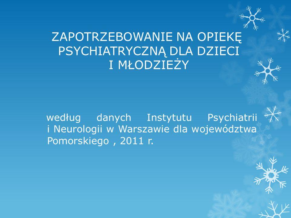 ZAPOTRZEBOWANIE NA OPIEKĘ PSYCHIATRYCZNĄ DLA DZIECI I MŁODZIEŻY według danych Instytutu Psychiatrii i Neurologii w Warszawie dla województwa Pomorskiego, 2011 r.