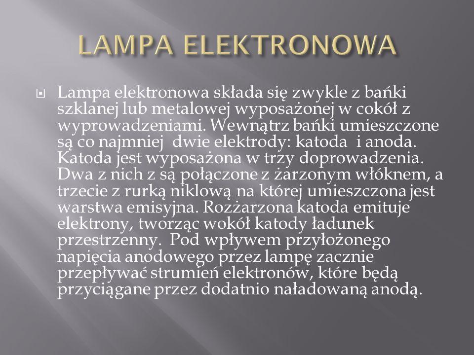  Lampa elektronowa składa się zwykle z bańki szklanej lub metalowej wyposażonej w cokół z wyprowadzeniami.
