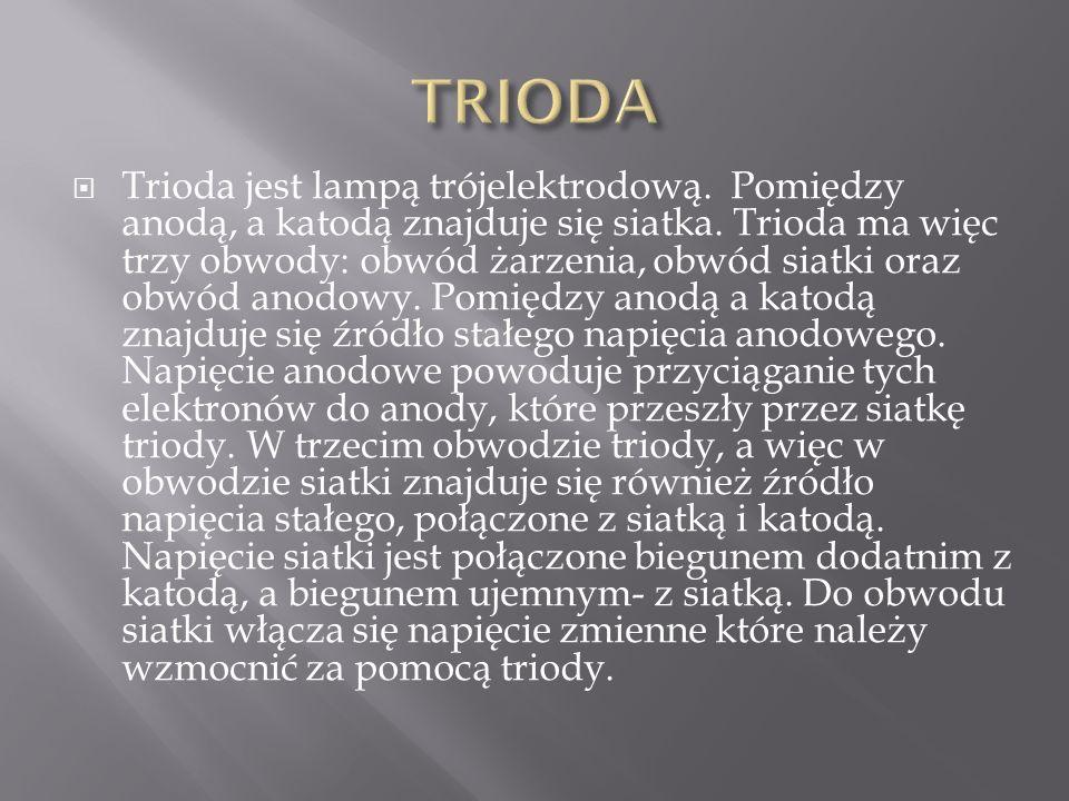  Trioda jest lampą trójelektrodową. Pomiędzy anodą, a katodą znajduje się siatka. Trioda ma więc trzy obwody: obwód żarzenia, obwód siatki oraz obwód