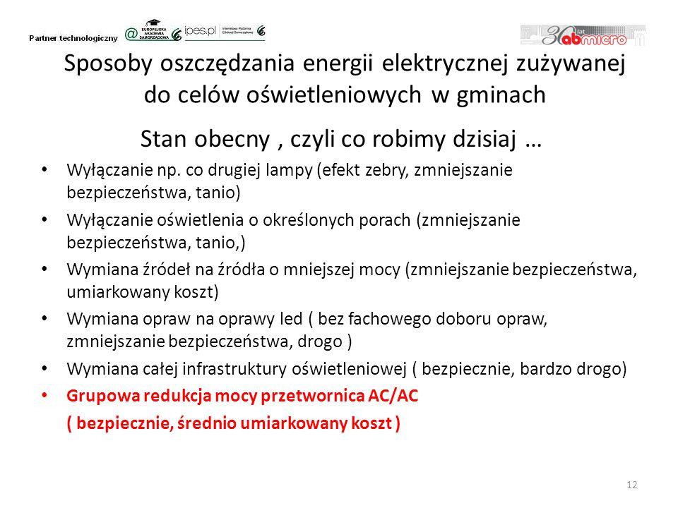 Sposoby oszczędzania energii elektrycznej zużywanej do celów oświetleniowych w gminach Stan obecny, czyli co robimy dzisiaj … Wyłączanie np.