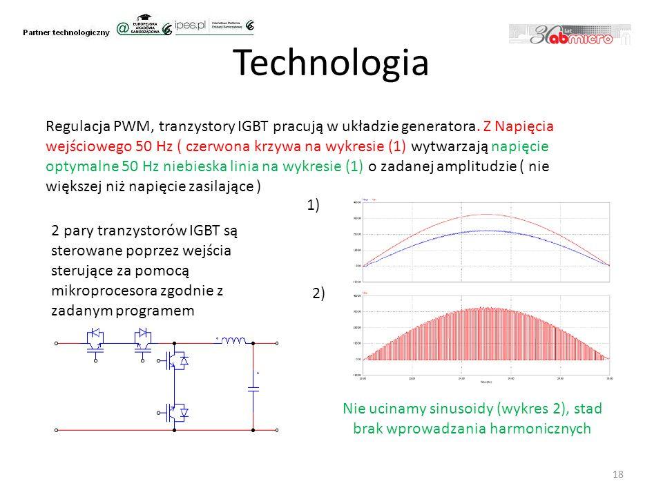 Technologia 18 Regulacja PWM, tranzystory IGBT pracują w układzie generatora.