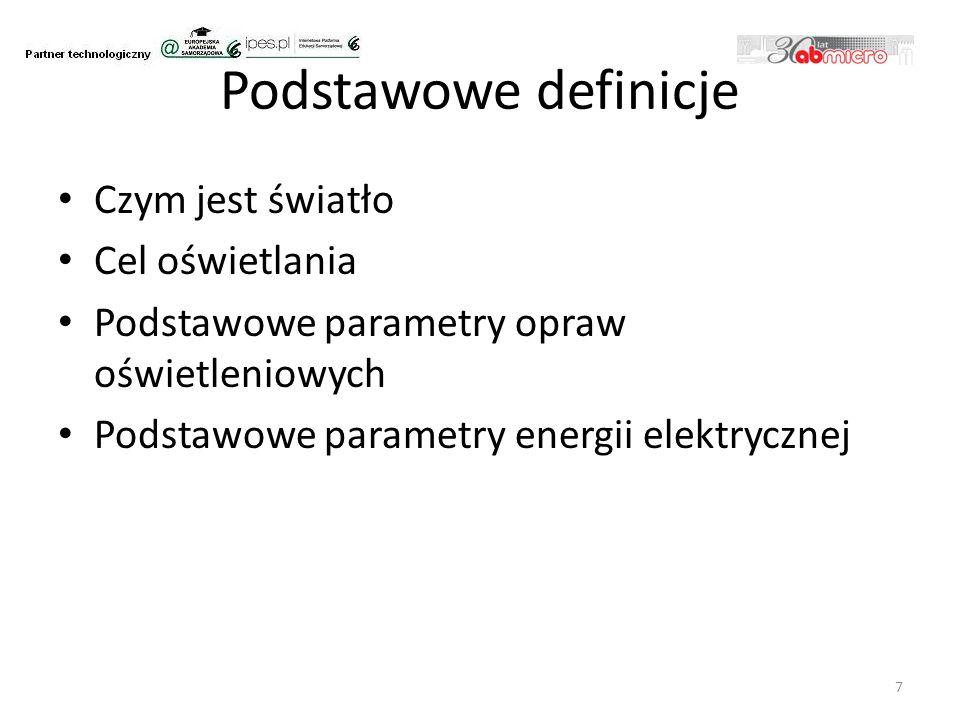 Podstawowe definicje Czym jest światło Cel oświetlania Podstawowe parametry opraw oświetleniowych Podstawowe parametry energii elektrycznej 7