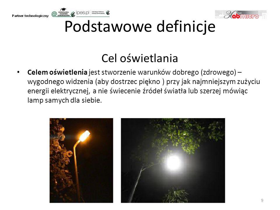 Podstawowe definicje Cel oświetlania Celem oświetlenia jest stworzenie warunków dobrego (zdrowego) – wygodnego widzenia (aby dostrzec piękno ) przy jak najmniejszym zużyciu energii elektrycznej, a nie świecenie źródeł światła lub szerzej mówiąc lamp samych dla siebie.