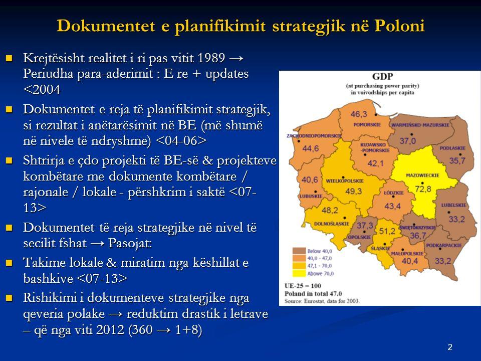 2 Dokumentet e planifikimit strategjik në Poloni Krejtësisht realitet i ri pas vitit 1989 → Periudha para-aderimit : E re + updates <2004 Krejtësisht realitet i ri pas vitit 1989 → Periudha para-aderimit : E re + updates <2004 Dokumentet e reja të planifikimit strategjik, si rezultat i anëtarësimit në BE (më shumë në nivele të ndryshme) Dokumentet e reja të planifikimit strategjik, si rezultat i anëtarësimit në BE (më shumë në nivele të ndryshme) Shtrirja e çdo projekti të BE-së & projekteve kombëtare me dokumente kombëtare / rajonale / lokale - përshkrim i saktë Shtrirja e çdo projekti të BE-së & projekteve kombëtare me dokumente kombëtare / rajonale / lokale - përshkrim i saktë Dokumentet të reja strategjike në nivel të secilit fshat → Pasojat: Dokumentet të reja strategjike në nivel të secilit fshat → Pasojat: Takime lokale & miratim nga këshillat e bashkive Takime lokale & miratim nga këshillat e bashkive Rishikimi i dokumenteve strategjike nga qeveria polake → reduktim drastik i letrave – që nga viti 2012 (360 → 1+8) Rishikimi i dokumenteve strategjike nga qeveria polake → reduktim drastik i letrave – që nga viti 2012 (360 → 1+8)