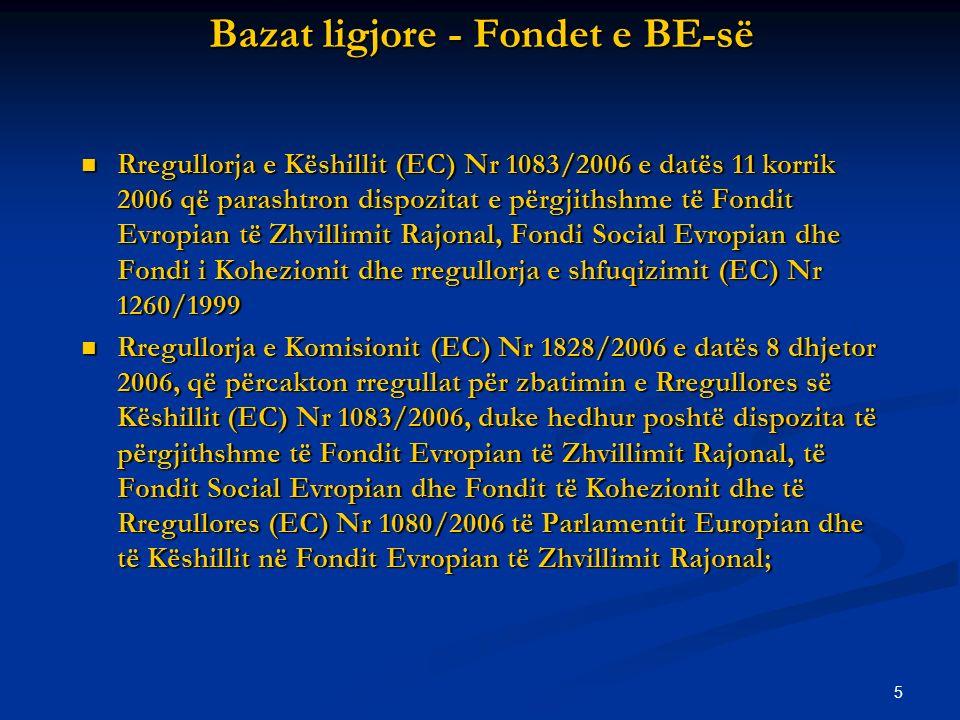 5 Bazat ligjore - Fondet e BE-së Rregullorja e Këshillit (EC) Nr 1083/2006 e datës 11 korrik 2006 që parashtron dispozitat e përgjithshme të Fondit Evropian të Zhvillimit Rajonal, Fondi Social Evropian dhe Fondi i Kohezionit dhe rregullorja e shfuqizimit (EC) Nr 1260/1999 Rregullorja e Këshillit (EC) Nr 1083/2006 e datës 11 korrik 2006 që parashtron dispozitat e përgjithshme të Fondit Evropian të Zhvillimit Rajonal, Fondi Social Evropian dhe Fondi i Kohezionit dhe rregullorja e shfuqizimit (EC) Nr 1260/1999 Rregullorja e Komisionit (EC) Nr 1828/2006 e datës 8 dhjetor 2006, që përcakton rregullat për zbatimin e Rregullores së Këshillit (EC) Nr 1083/2006, duke hedhur poshtë dispozita të përgjithshme të Fondit Evropian të Zhvillimit Rajonal, të Fondit Social Evropian dhe Fondit të Kohezionit dhe të Rregullores (EC) Nr 1080/2006 të Parlamentit Europian dhe të Këshillit në Fondit Evropian të Zhvillimit Rajonal; Rregullorja e Komisionit (EC) Nr 1828/2006 e datës 8 dhjetor 2006, që përcakton rregullat për zbatimin e Rregullores së Këshillit (EC) Nr 1083/2006, duke hedhur poshtë dispozita të përgjithshme të Fondit Evropian të Zhvillimit Rajonal, të Fondit Social Evropian dhe Fondit të Kohezionit dhe të Rregullores (EC) Nr 1080/2006 të Parlamentit Europian dhe të Këshillit në Fondit Evropian të Zhvillimit Rajonal;
