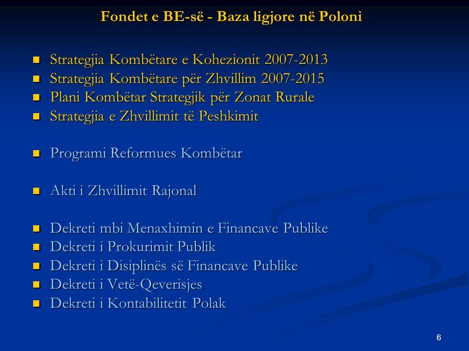 6 Fondet e BE-së - Baza ligjore në Poloni Strategjia Kombëtare e Kohezionit 2007-2013 Strategjia Kombëtare e Kohezionit 2007-2013 Strategjia Kombëtare për Zhvillim 2007-2015 Strategjia Kombëtare për Zhvillim 2007-2015 Plani Kombëtar Strategjik për Zonat Rurale Plani Kombëtar Strategjik për Zonat Rurale Strategjia e Zhvillimit të Peshkimit Strategjia e Zhvillimit të Peshkimit Programi Reformues Kombëtar Programi Reformues Kombëtar Akti i Zhvillimit Rajonal Akti i Zhvillimit Rajonal Dekreti mbi Menaxhimin e Financave Publike Dekreti mbi Menaxhimin e Financave Publike Dekreti i Prokurimit Publik Dekreti i Prokurimit Publik Dekreti i Disiplinës së Financave Publike Dekreti i Disiplinës së Financave Publike Dekreti i Vetë-Qeverisjes Dekreti i Vetë-Qeverisjes Dekreti i Kontabilitetit Polak Dekreti i Kontabilitetit Polak