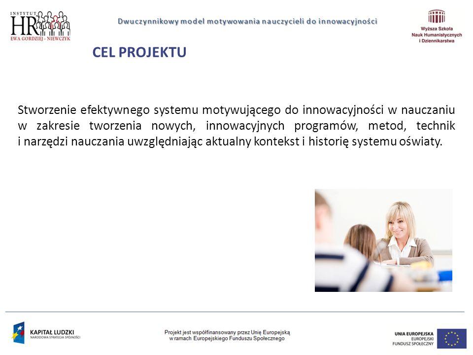 CEL PROJEKTU Stworzenie efektywnego systemu motywującego do innowacyjności w nauczaniu w zakresie tworzenia nowych, innowacyjnych programów, metod, technik i narzędzi nauczania uwzględniając aktualny kontekst i historię systemu oświaty.