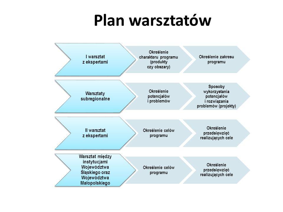 Plan warsztatów I warsztat z ekspertami Określenie charakteru programu (produkty czy obszary) Określenie zakresu programu Warsztaty subregionalne Określenie potencjałów i problemów Sposoby wykorzystania potencjałów i rozwiązania problemów (projekty) II warsztat z ekspertami Określenie celów programu Określenie przedsięwzięć realizujących cele Warsztat między instytucjami Województwa Śląskiego oraz Województwa Małopolskiego Określenie celów programu Określenie przedsięwzięć realizujących cele