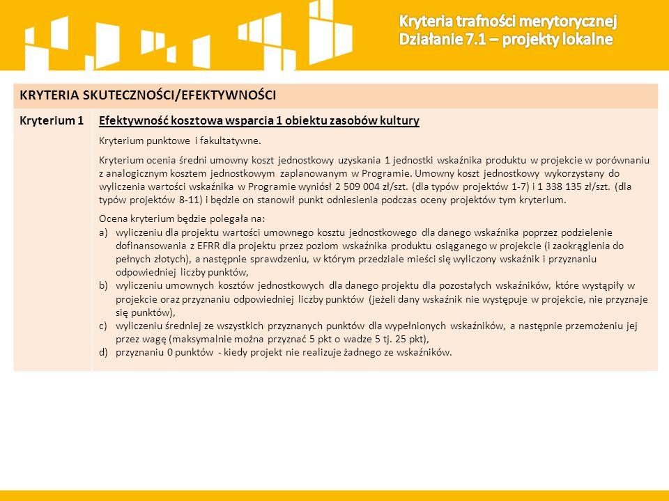 KRYTERIA SKUTECZNOŚCI/EFEKTYWNOŚCI Kryterium 1Efektywność kosztowa wsparcia 1 obiektu zasobów kultury Kryterium punktowe i fakultatywne.