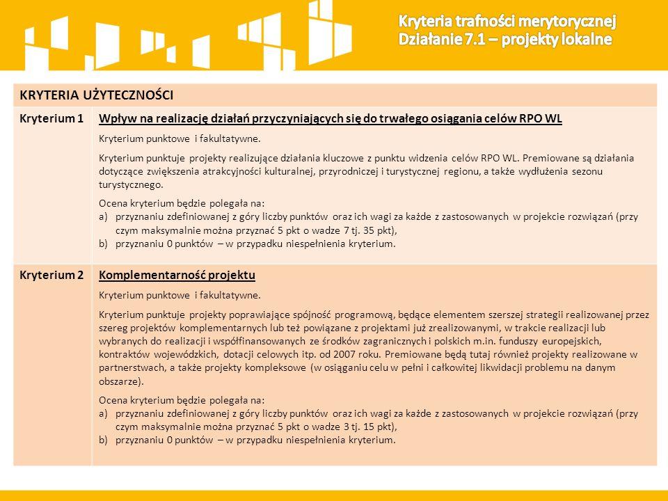 KRYTERIA UŻYTECZNOŚCI Kryterium 1Wpływ na realizację działań przyczyniających się do trwałego osiągania celów RPO WL Kryterium punktowe i fakultatywne.