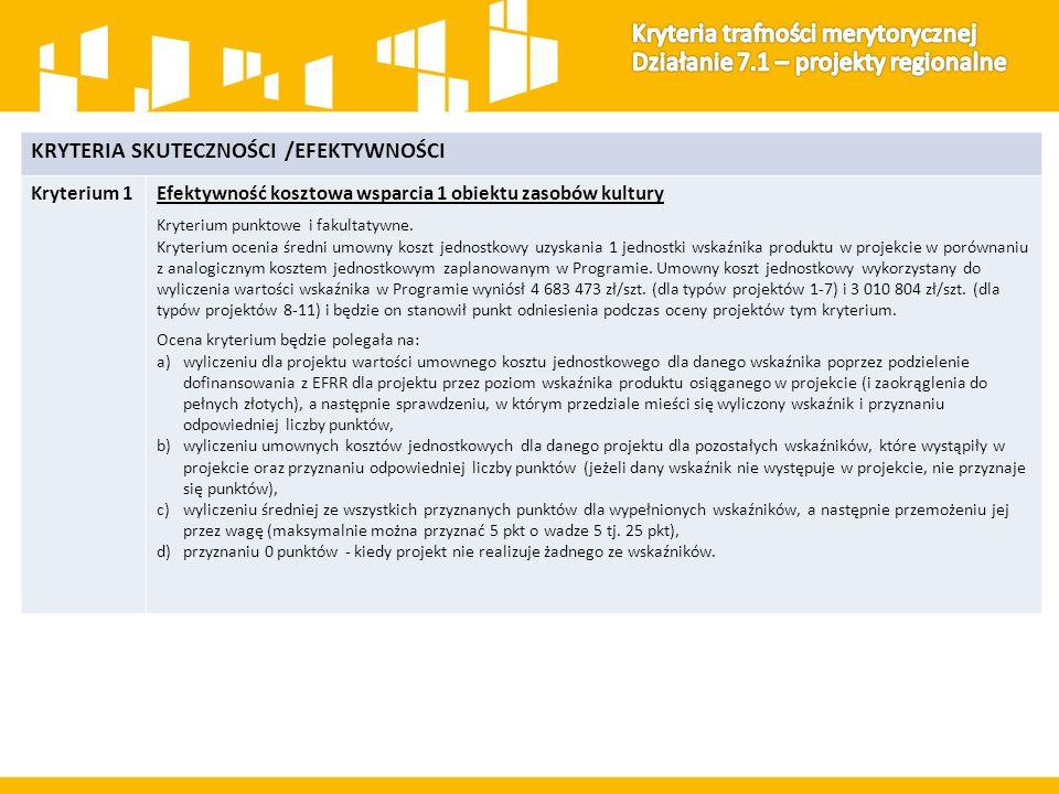 KRYTERIA SKUTECZNOŚCI /EFEKTYWNOŚCI Kryterium 1Efektywność kosztowa wsparcia 1 obiektu zasobów kultury Kryterium punktowe i fakultatywne.