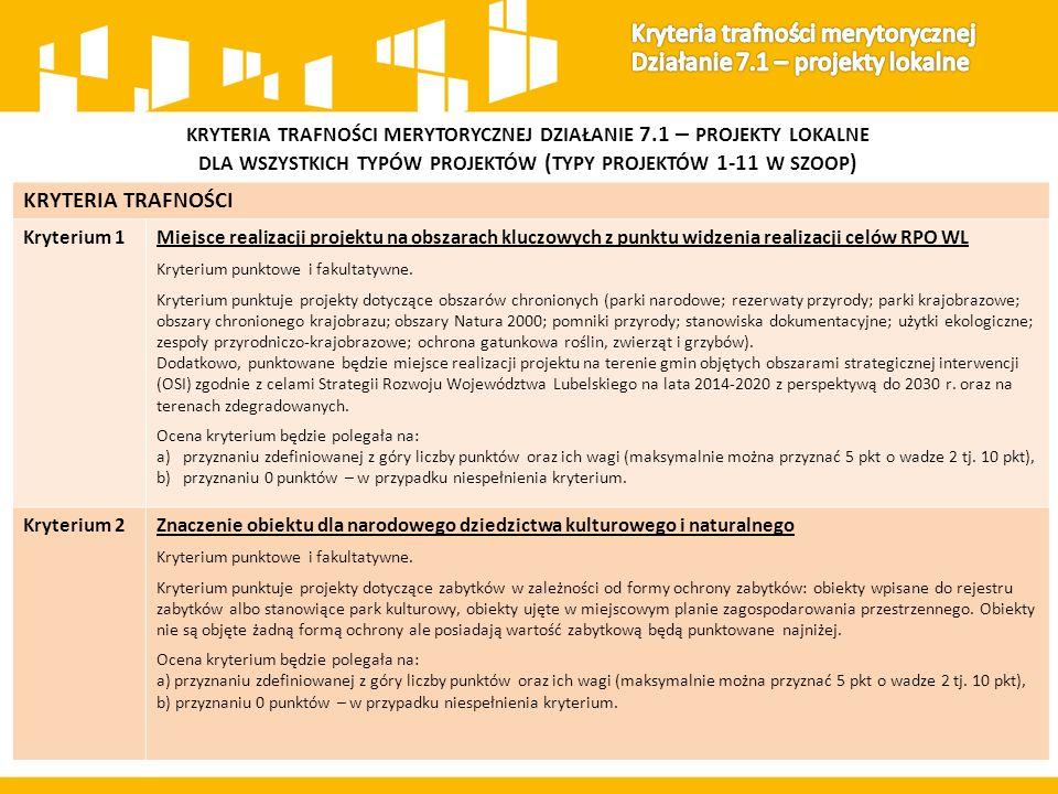 KRYTERIA TRAFNOŚCI Kryterium 1Miejsce realizacji projektu na obszarach kluczowych z punktu widzenia realizacji celów RPO WL Kryterium punktowe i fakultatywne.