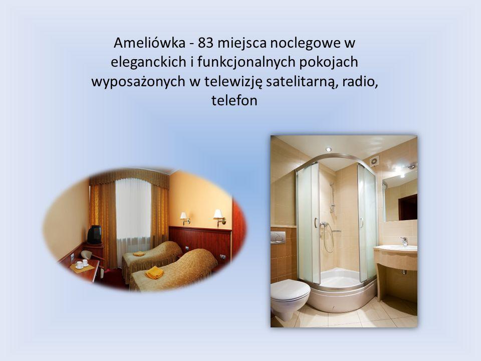 Ameliówka - 83 miejsca noclegowe w eleganckich i funkcjonalnych pokojach wyposażonych w telewizję satelitarną, radio, telefon