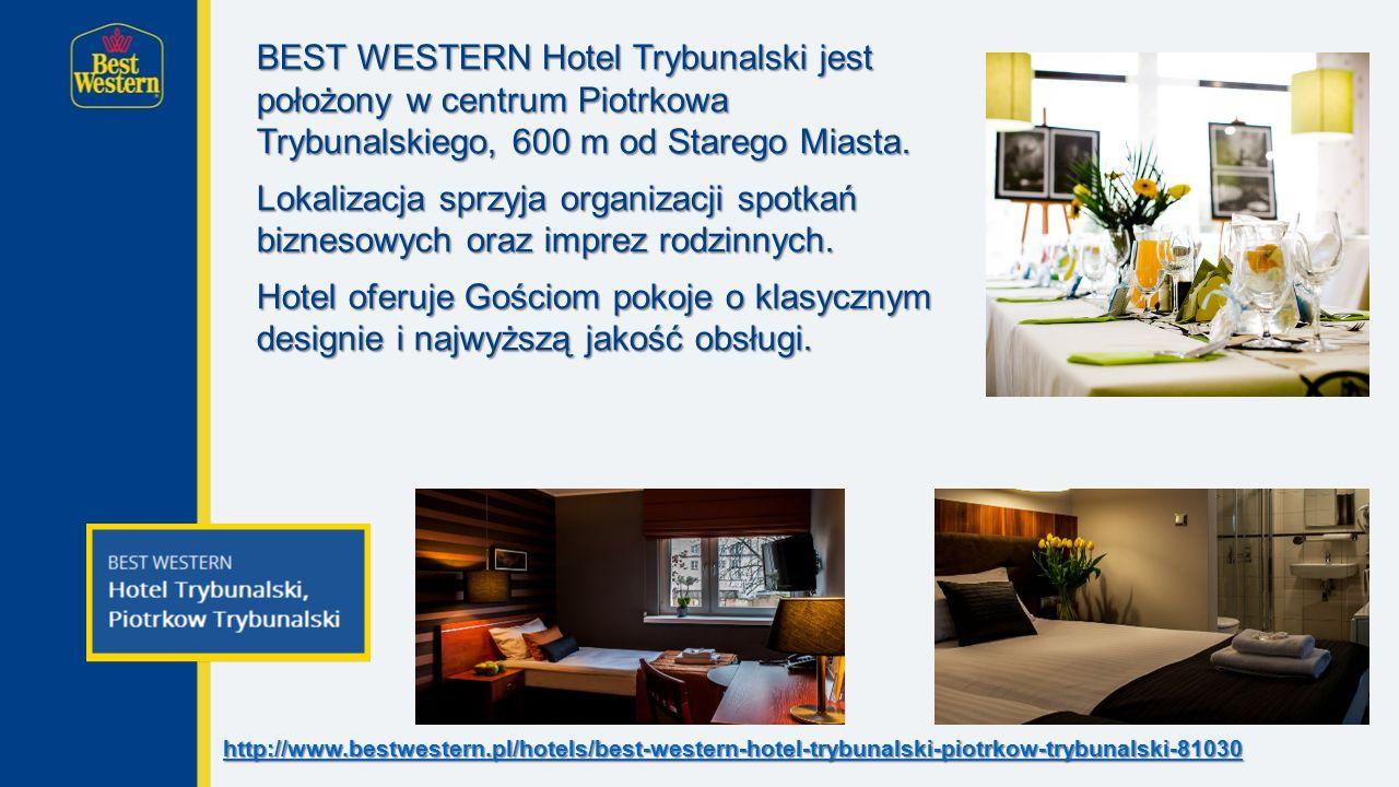 BEST WESTERN Hotel Trybunalski jest położony w centrum Piotrkowa Trybunalskiego, 600 m od Starego Miasta.