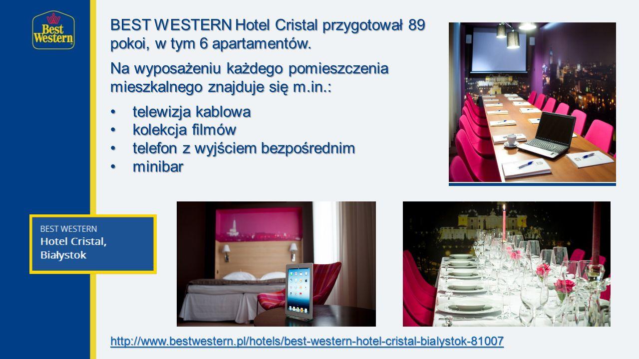 BEST WESTERN Hotel Cristal przygotował 89 pokoi, w tym 6 apartamentów.