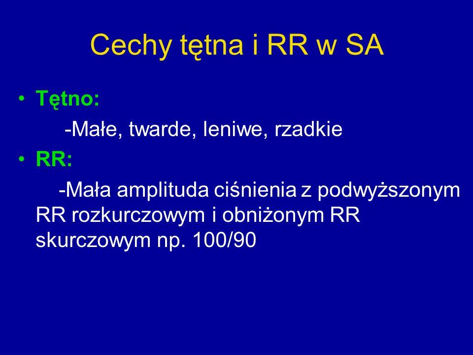 Cechy tętna i RR w SA Tętno: -Małe, twarde, leniwe, rzadkie RR: -Mała amplituda ciśnienia z podwyższonym RR rozkurczowym i obniżonym RR skurczowym np.