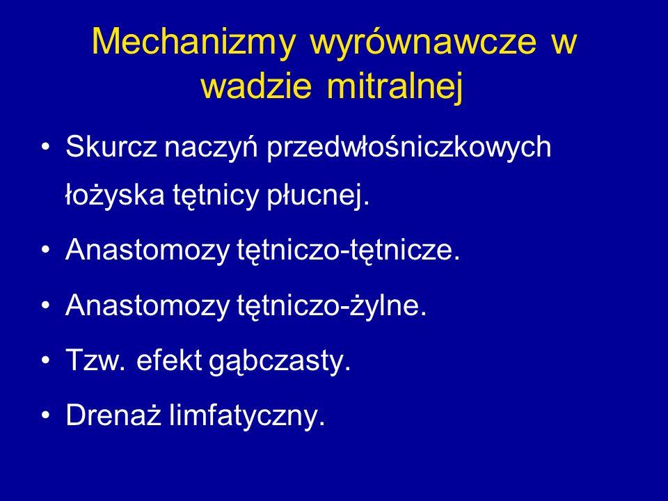 Mechanizmy wyrównawcze w wadzie mitralnej Skurcz naczyń przedwłośniczkowych łożyska tętnicy płucnej.