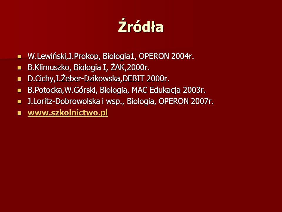 Źródła W.Lewiński,J.Prokop, Biologia1, OPERON 2004r. W.Lewiński,J.Prokop, Biologia1, OPERON 2004r. B.Klimuszko, Biologia I, ŻAK,2000r. B.Klimuszko, Bi