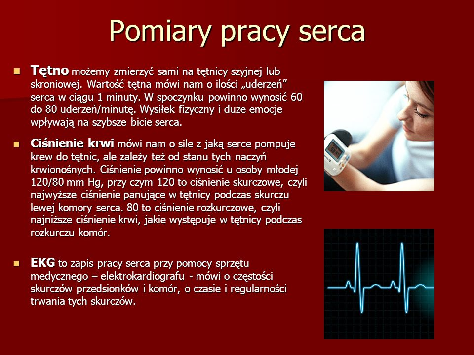 """Pomiary pracy serca Tętno możemy zmierzyć sami na tętnicy szyjnej lub skroniowej. Wartość tętna mówi nam o ilości """"uderzeń"""" serca w ciągu 1 minuty. W"""