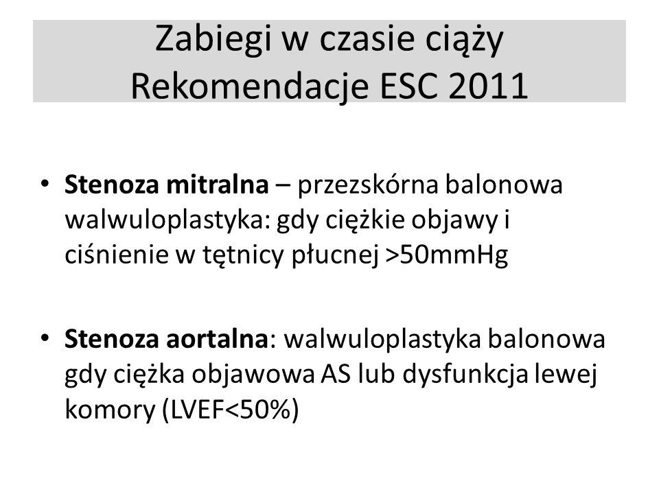 Zabiegi w czasie ciąży Rekomendacje ESC 2011 Stenoza mitralna – przezskórna balonowa walwuloplastyka: gdy ciężkie objawy i ciśnienie w tętnicy płucnej >50mmHg Stenoza aortalna: walwuloplastyka balonowa gdy ciężka objawowa AS lub dysfunkcja lewej komory (LVEF<50%)