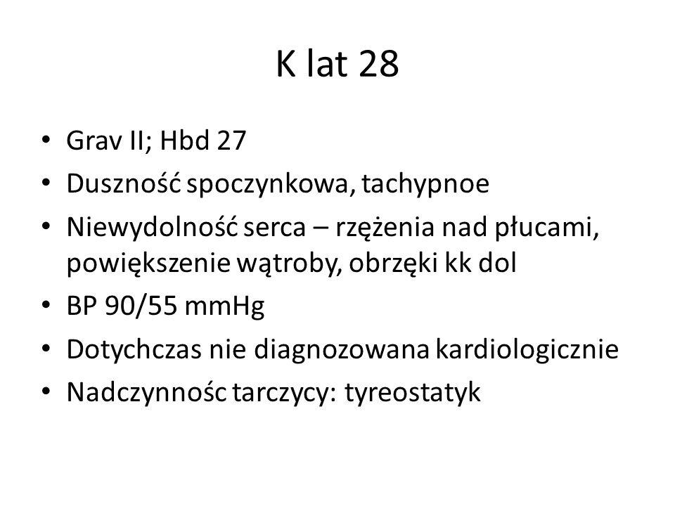 K lat 28 Grav II; Hbd 27 Duszność spoczynkowa, tachypnoe Niewydolność serca – rzężenia nad płucami, powiększenie wątroby, obrzęki kk dol BP 90/55 mmHg Dotychczas nie diagnozowana kardiologicznie Nadczynnośc tarczycy: tyreostatyk