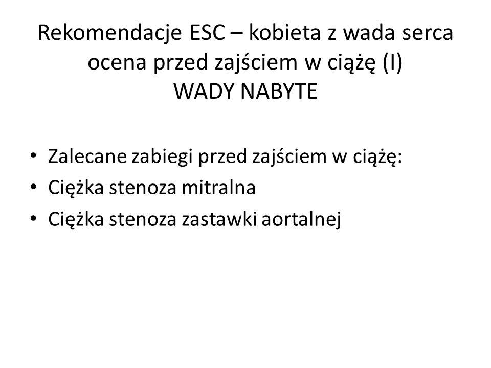Rekomendacje ESC – kobieta z wada serca ocena przed zajściem w ciążę (I) WADY NABYTE Zalecane zabiegi przed zajściem w ciążę: Ciężka stenoza mitralna Ciężka stenoza zastawki aortalnej