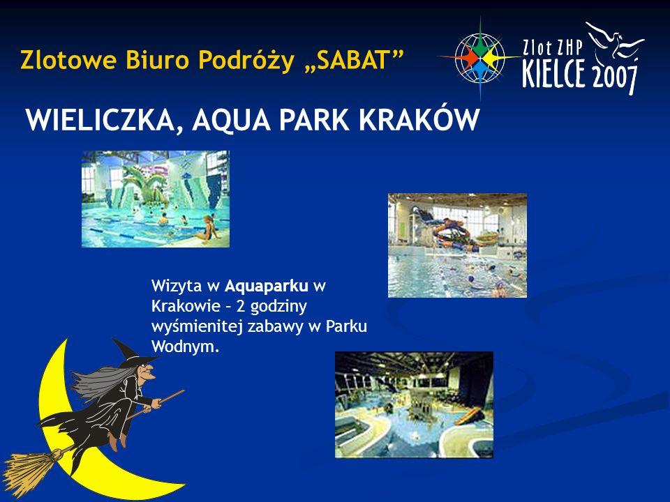 """Zlotowe Biuro Podróży """"SABAT"""" WIELICZKA, AQUA PARK KRAKÓW Wizyta w Aquaparku w Krakowie – 2 godziny wyśmienitej zabawy w Parku Wodnym."""