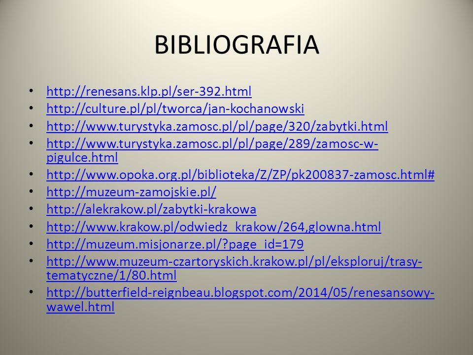BIBLIOGRAFIA http://renesans.klp.pl/ser-392.html http://culture.pl/pl/tworca/jan-kochanowski http://www.turystyka.zamosc.pl/pl/page/320/zabytki.html http://www.turystyka.zamosc.pl/pl/page/289/zamosc-w- pigulce.html http://www.turystyka.zamosc.pl/pl/page/289/zamosc-w- pigulce.html http://www.opoka.org.pl/biblioteka/Z/ZP/pk200837-zamosc.html# http://muzeum-zamojskie.pl/ http://alekrakow.pl/zabytki-krakowa http://www.krakow.pl/odwiedz_krakow/264,glowna.html http://muzeum.misjonarze.pl/?page_id=179 http://www.muzeum-czartoryskich.krakow.pl/pl/eksploruj/trasy- tematyczne/1/80.html http://www.muzeum-czartoryskich.krakow.pl/pl/eksploruj/trasy- tematyczne/1/80.html http://butterfield-reignbeau.blogspot.com/2014/05/renesansowy- wawel.html http://butterfield-reignbeau.blogspot.com/2014/05/renesansowy- wawel.html