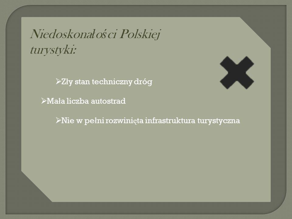 Niedoskona ł o ś ci Polskiej turystyki:  Z ł y stan techniczny dróg  Ma ł a liczba autostrad  Nie w pe ł ni rozwini ę ta infrastruktura turystyczna